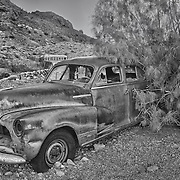Rusted Chevrolet Fleetline Dusk - Eldorado Canyon - Nelson NV - HDR - Black & White