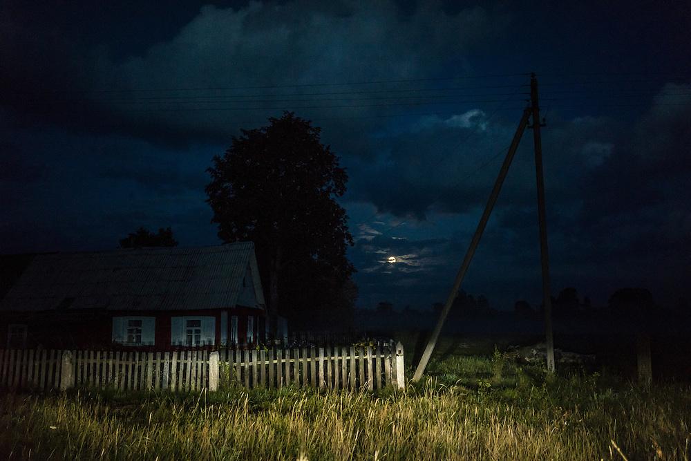 Fog settles at dusk on Friday, September 16, 2016 in Falkavicy, Belarus.
