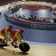 LONDON 2012 PARALYMPIC GAMES.. Pic shows tandem racing at the Veledrome  at the London Paralympic Games,London.