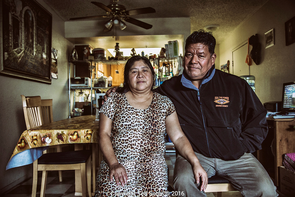 Amalia Orantes and her husband Enrique inside their Santa Ana rental.<br /> Over 75% of what they make is for rent. The area where they live is undergoing gentrification and rent prices gone up.