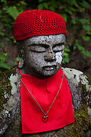 "Alternatively called Bake-jizo, Narabi-jizo (Jizos in a line) or Hyaku-jizo (100-Jizo), a group of mysteriously aligned Jizo patiently sit along the Daiya River and Jiunji Temple. ""Jizo"" images and statues are popular in Japan as Bodhisattva who console beings awaiting rebirth and travelers. As such they are often found along roadsides, paths or even street corners. There is a group of about 70 Jizos along the Bake Jizo Trail in Nikko. At one time there were 100 jizos along this trail. However, some of those were washed away by flooding in 1902. Alternatively called Bake-jizo, Narabi-jizo (Jizos in a line) or Hyaku-jizo (100-Jizo), a group of mysteriously aligned Jizo patiently sit along the Daiya River and Jiunji Temple"