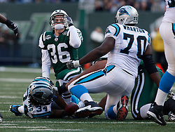 Nov 29, 2009; East Rutherford, NJ, USA; New York Jets safety Jim Leonhard (36) celebrates after stopping Carolina Panthers running back DeAngelo Williams (34) during the first half at Giants Stadium.