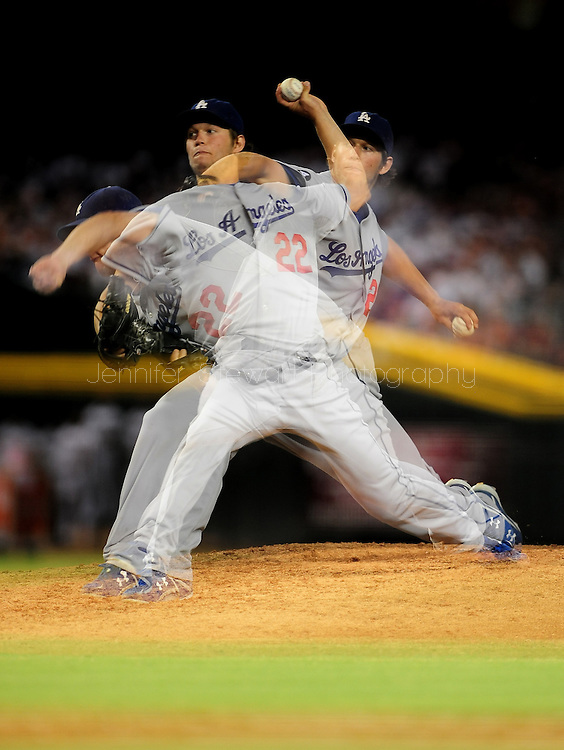 Jul. 15 2011; Phoenix, AZ, USA; (EDITORS NOTE: Multiple exposure) Los Angeles Dodgers pitcher Clayton Kershaw (22) delivers a pitch against the Arizona Diamondbacks at Chase Field. The Dodgers defeated the Diamondbacks 6-4. Mandatory Credit: Jennifer Stewart-US PRESSWIRE..