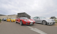2005 Ford GT (Red / White) .2005 Lamborghini Gallardo (Giallo Midas) .2008 Mercedes Benz AMG CLK 63 Black Series (Iridium Silver) .Corporate Drive Day with Octane Events & The Supercar Club.Moonah links Golf course, Mornington Pennisula, Victoria .6th-7th of August 2009 .(C) Joel Strickland Photographics
