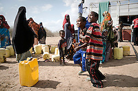 Kenya Red Cross, Water Trucking/Distribution Point for 3,000 beneficiaries. Lago, 20 km from Garissa, Kenya.
