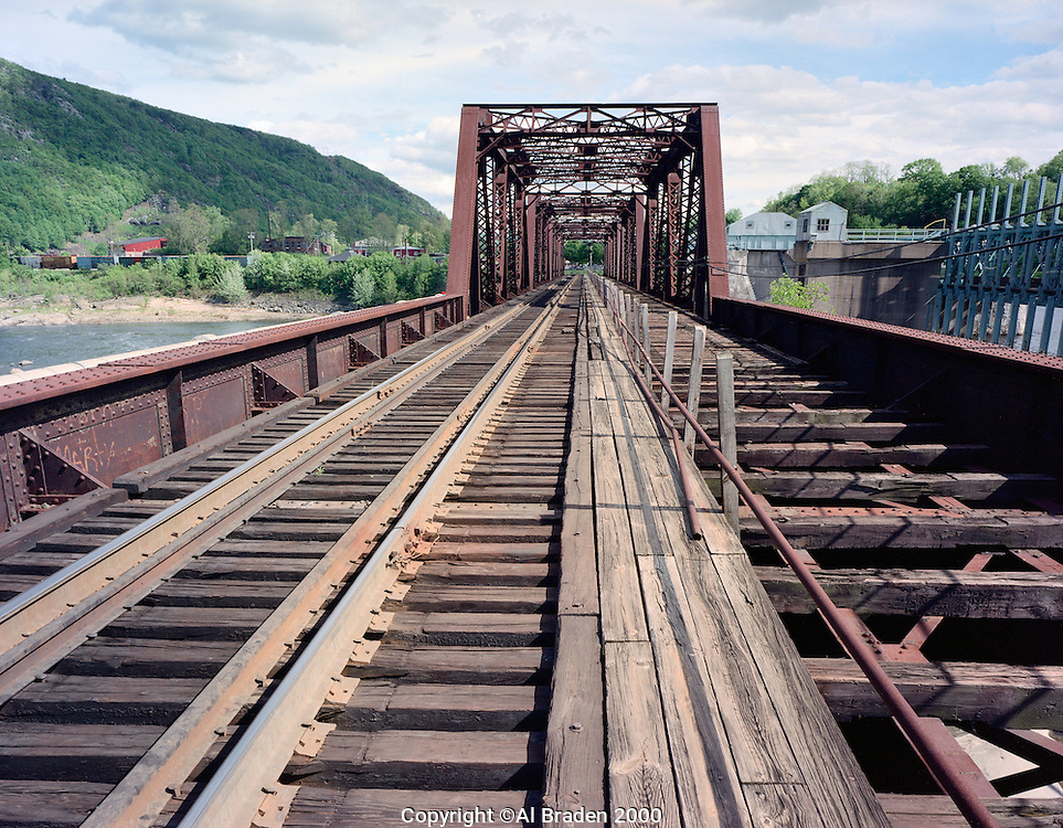 Rail bridge over Connecticut River natural channel at north entrance to Bellows Falls, VT