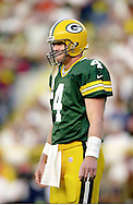 (2000)-Green Bay quarterback Brett Favre reacts to a overthrown pass in the first quarter of a pre-season game with the Jets.