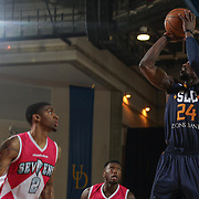 Salt Lake City Stars Guard JERMAINE TAYLOR (24) attempts a jumper as Delaware 87ers Guard DEVONDRICK WALKER (2) looks on in the second half of an NBA D-league regular season game between the Delaware 87ers and the Salt Lake City Stars (Utah Jazz) Friday, March 17, 2017 at The Bob Carpenter Sports Convocation Center in Newark, DEL