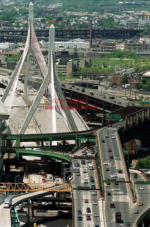 (06/01/02-Boston,MA) As seen from The Custom House.... The Zakim Bunker Hill Freedom Bridge.........................(060102zakimbrdgemg-Staff Photo: Mark Garfinkel.Saved adv News/Phto1)