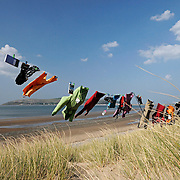 Outdoor clothing on a clothes line