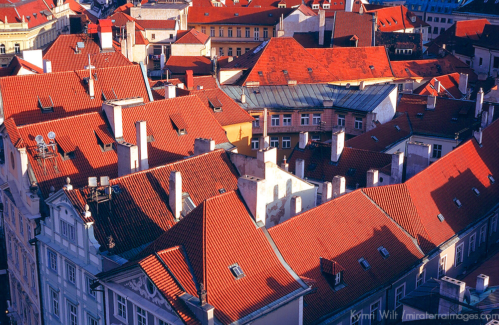 Europe, Czech Republic, Prague. Red-tiled rooftops of Prague's Old Town.