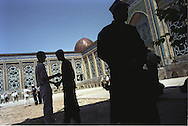Men arrive for prayers at the Haji Yakoub mosque in Dushanbe, Tajikistan.