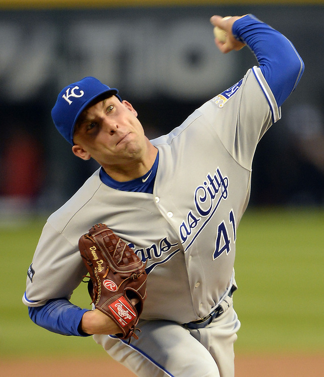 CHICAGO - APRIL 25:  Danny Duffy #41 of the Kansas City Royals pitches against the Chicago White Sox on April 25, 2017 at Guaranteed Rate Field in Chicago, Illinois.  The White Sox defeated the Royals 10-5.  (Photo by Ron Vesely)   Subject:  Danny Duffy