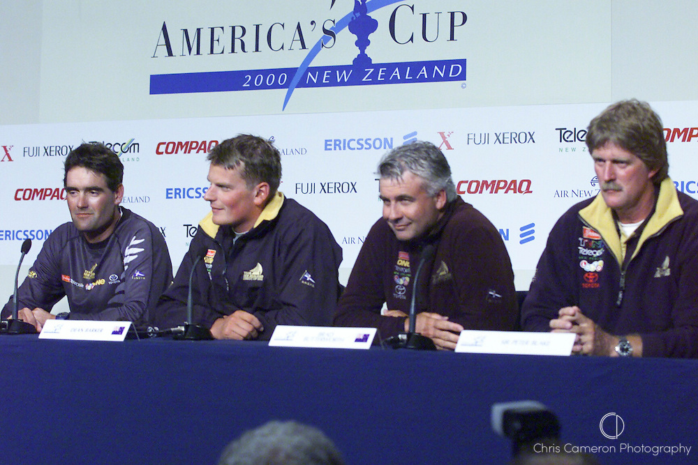 Russel Coutts and Dean Barker on stage at the press conference after winning the America's Cup. 2000