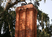 Old, Southern chimney with Spanish Moss in oak tree