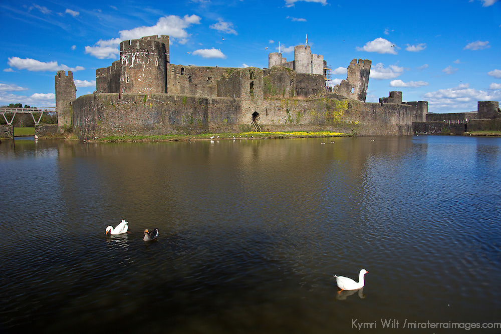 Europe, United Kingdom, Wales, Caerphilly. Moat of Caerphilly Castle, the largest castle in Wales.