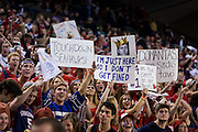 Gonzaga fans hold up signs referencing the Seahawks during the men's basketball game against Memphis at the McCarthey Athletic Center in Spokane, WA, Saturday, Jan. 31, 2015. (Ryan Sullivan/Gonzaga University)