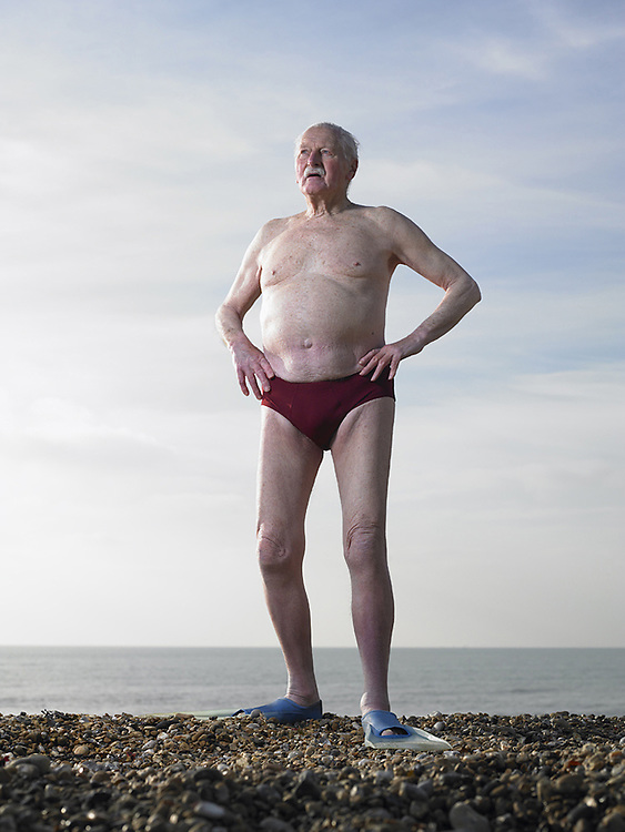 Elderly Swimmer on Beach<br /> Photography by Zac Macaulay<br /> Tel 0044 07947 884 517<br /> www.linkphotographers.com