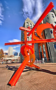 The arts district, which includes the Denver Public Library and the soaring architecture of the Art Museum contains many large outdoor sculpture exhibits.