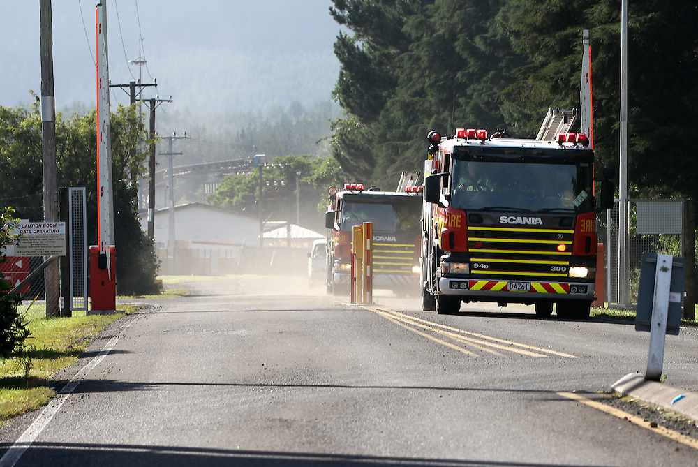 Fire appliances attend Red Stag Timber after a man was seriously injured by machinery at the Waipa Mill, Rotorua, New Zealand, Thursday, January 19, 2012. Credit; SNPA / Peter Graney.