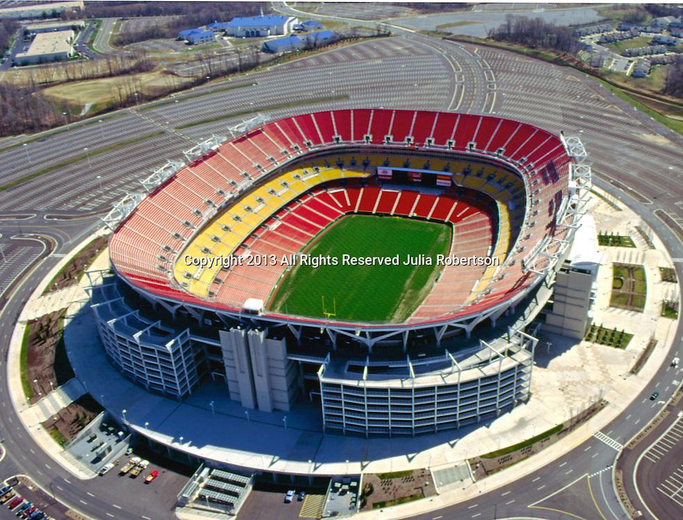 Aerial Image of Fed Ex Field, Home of the Washington Redskins. July 15, 200 in Landover, Maryland. ([Julia Robertson] / via AP Images)