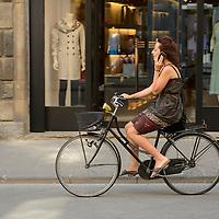 Europe,Italy, Europe, Florence, city, woman, woman on bike