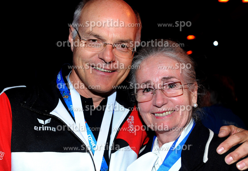 13.02.2014, Austria Tirol House, Krasnaya Polyana, RUS, Sochi, 2014, im Bild KARL STOSS, <br /> REGINA HEITZER (SILBERMED GEWINNERIN EISKUNSTLAUF OLYMPIA 1964 ) // KARL STOSS, <br /> REGINA HEITZER (SILBERMED GEWINNERIN EISKUNSTLAUF OLYMPIA 1964 ) during the Olympic Winter Games Sochi 2014 at the Austria Tirol House in Krasnaya Polyana, Russia on 2014/02/14. EXPA Pictures &copy; 2014, PhotoCredit: EXPA/ Erich Spiess
