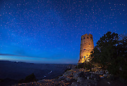 The Watchtower at Desert View under a starry night sky. Grand Canyon National Park in Arizona.