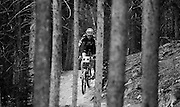 SHOT 8/19/11 10:52:18 AM - Scott Patterson makes his way down the trail while competing in the Solo 40 Men's category during the final day of racing in The Breck Epic in Breckenridge, Co. The event is a 6-day ultra-endurance mountain bike stage race held in the sprawling backcountry surrounding the town of Breckenridge, Co. The course is 240 miles and features a combined 38,000 feet of climbing, 90% of which is above 10,000 feet. More than 200 riders from 15 different countries participated in the race. (Photo by Marc Piscotty / © 2011)