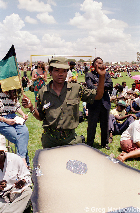 Sebokeng, Vaal, South Africa 1991. A  mass funeral for residents of Sbokeng who were killed by Inkatha Freedom party members.