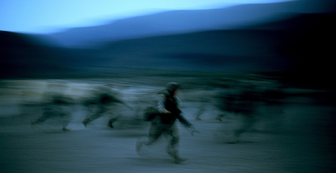 U.S. Military members run through some tactical movement drills in case they are attacked during a 10-day French Tactical Desert Survival Training Course on May 7, 2008, while deployed to Combined Joint Task Force - Horn of Africa, located at Camp Lemonier, Djibouti. The students are taught to conserve as much energy during the heat of the day and to move at night when it is cooler. Forty U.S. Military members stationed at Camp Lemonier, Djibouti, volunteered for the 10-day course taught by French Marines from the 5th Regiment Overseas Infantry. The training was held in the desert outside Djibouti City. — © TSgt. Jeremy T. Lock/