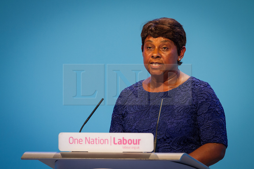 © Licensed to London News Pictures . 25/09/2013 . Brighton , UK . Guest speaker , DOREEN LAWRENCE OBE , addresses the conference this afternoon (Wednesday 25th September 2013) . Day 4 of the Labour Party 's annual conference in Brighton . Photo credit : Joel Goodman/LNP