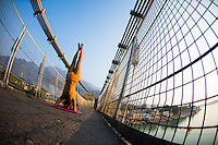 Yogi Amitram at Lakshman Jhula, suspended bridge over Ganga