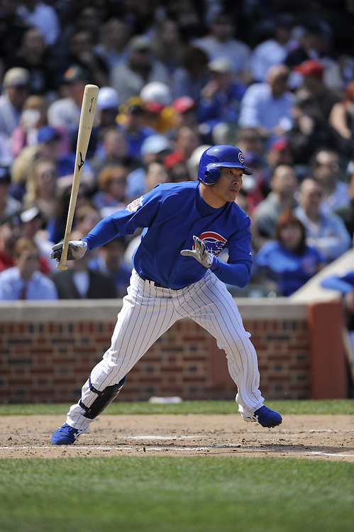 CHICAGO - APRIL 23:  Kosuke Fukudome #1 of the Chicago Cubs bats against the Cincinnati Reds on April 23, 2009 at Wrigley Field in Chicago, Illinois.  The Reds defeated the Cubs 7-1.  (Photo by Ron Vesely)