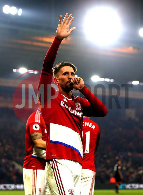 Gaston Ramirez of Middlesbrough celebrates scoring a goal to make it 1-0 - Mandatory by-line: Robbie Stephenson/JMP - 05/12/2016 - FOOTBALL - Riverside Stadium - Middlesbrough, England - Middlesbrough v Hull City - Premier League