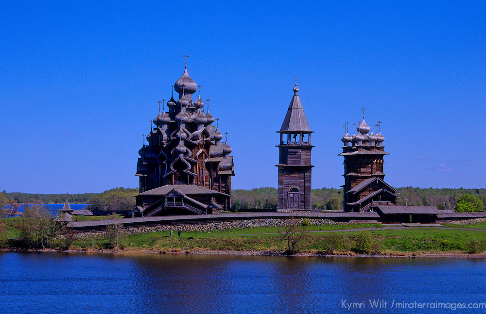 Europe, Russia, Kizhi Island. Church of Transfiguration, Bell Tower, and Church of Intercession on Kizhi Island.