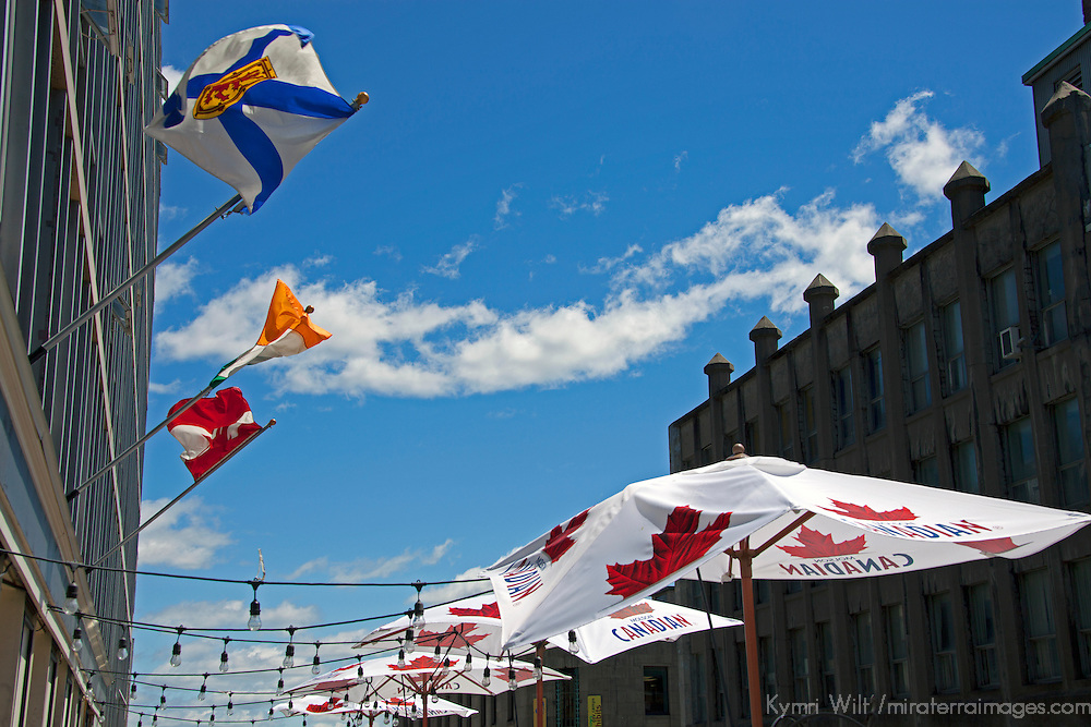 North America, Canada, Nova Scotia, Halifax. Flags and Umbrellas of Halifax.