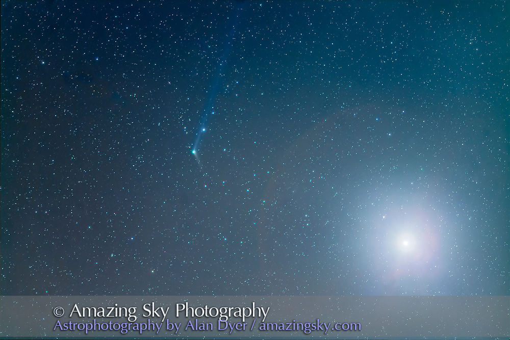 Comet Catalina, C/2013 US10, near Venus at right, on December 9, 2015, as seen and shot from Arizona, at the Quailway Cottage near Portal. The blue ion tail is visible stretching back several degrees pointing away from the Sun, while the short dust tail extends to the lower right following along the comet&rsquo;s orbit. <br /> <br /> This is a stack of 5 x 90-second exposures, taken with the 135mm telephoto and 1.4x extender for a focal length of 190mm, at f/2.8 and with the Canon 5D MkII at ISO 1600, tracked on the iOptron Sky-Tracker. Two other exposures, of 15s and 1s were blended in with luminosity masks to reduce the glare of Venus to a smaller size.