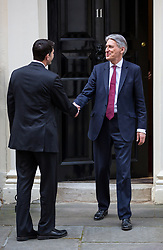 © Licensed to London News Pictures. 19/04/2017. London, UK. Chancellor of the Exchequer Philip Hammond meets Speaker of the United States House of Representatives Paul Ryan in Downing Street. Yesterday, Theresa May called a snap General Election, to take place on 8 June 2017. Photo credit : Tom Nicholson/LNP