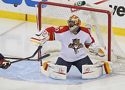 April 24, 2012; Newark, NJ, USA; Florida Panthers goalie Scott Clemmensen (30) makes a save during the third period of game six of the 2012 Eastern Conference quarterfinals at the Prudential Center.