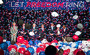 Balloons and confetti rain on invited dignitaries as UNLV and LVCVA host a rally in the Cox Pavilion featuring Governor Brian Sandoval and other guests promoting the final presidential debate in October on Tuesday, January 12, 2016.