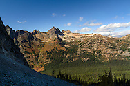 Cutthroat Peak in the Fall - from above Blue Lake in the North Cascades of the Okanogan-Wenatchee National Forest in Washington State, USA