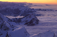 View from Mount Saentis, Swiss Alps, Appenzell Canton, Switzerland