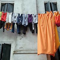 Chioggia, Venetian Lagoon, Italy 30 June 2009<br /> Clothes drying.<br /> PHOTO: EZEQUIEL SCAGNETTI