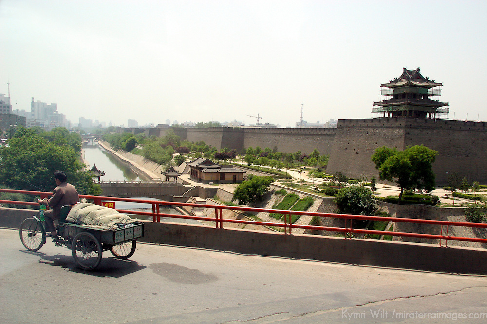 Asia, China, Shaanxi, Xian. Bridge over the mote around the walled old town of Xian.