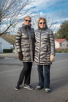 """""""It's the kind of day for a puffy coat.""""  -Helga Kimball and Marilyn Glaim are out for a walk on Cedar Street on a brisk morning on  in Calistoga"""