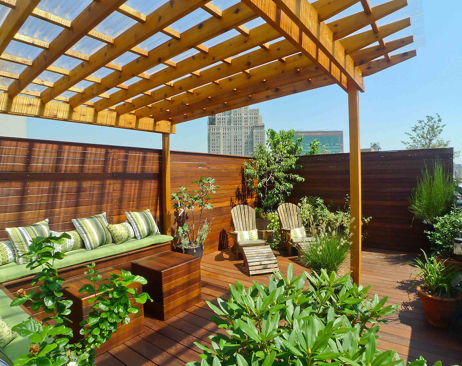 New York Rooftop Terrace With Covered Pergola Featuring