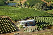 Aerial view over Winderlea winery & vineyards, Dundee Hills, Willamette Valley, Oregon