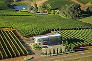 Aerial view over Winderlea winery & vineyards, Dundee Hills, Willamette Valley, Oregon