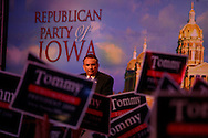 U.S. Presidential candidate Tommy Thompson speaks during the Iowa State Straw Poll August 11, 2007 in Ames, Iowa..